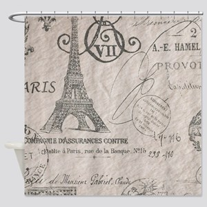 vintage paris eiffel tower scripts Shower Curtain