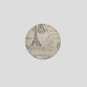 vintage paris eiffel tower scripts Mini Button