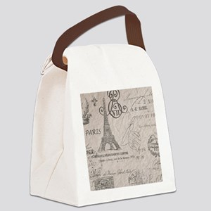 vintage paris eiffel tower script Canvas Lunch Bag