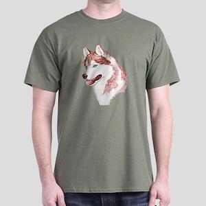 Red Siberian Husky Blue Eyes Dark Colored T-Shirt