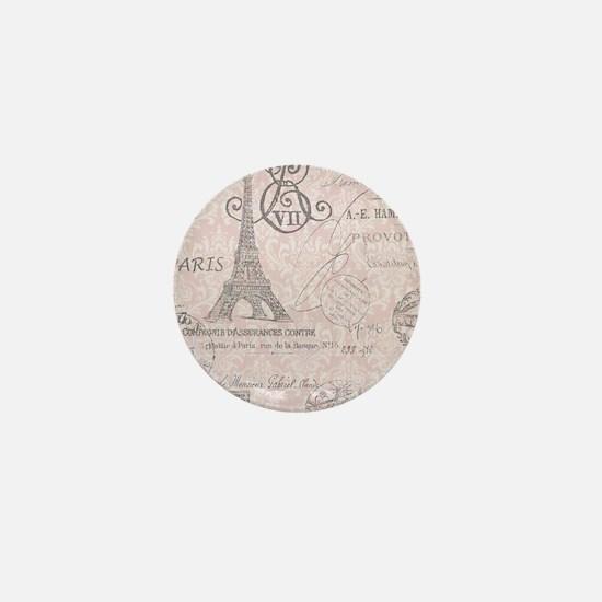 vintage paris eiffel tower damask Mini Button