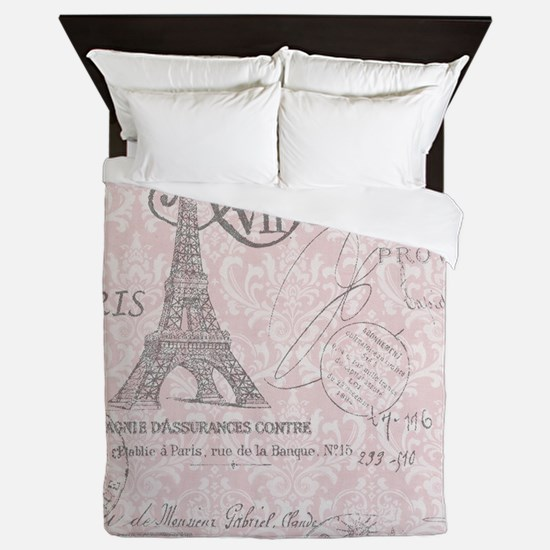 vintage paris eiffel tower damask Queen Duvet