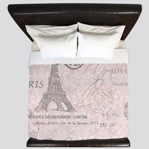 vintage paris eiffel tower damask King Duvet