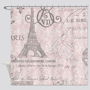 vintage paris eiffel tower damask Shower Curtain