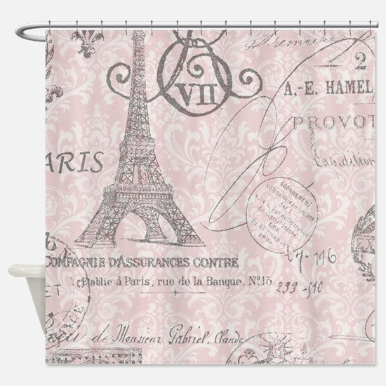 vintage paris eiffel tower damask Shower Curtain