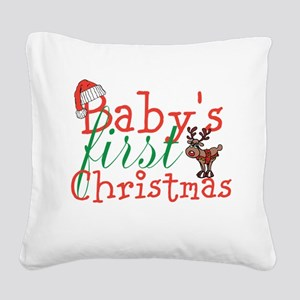 Baby's First Christmas Square Canvas Pillow
