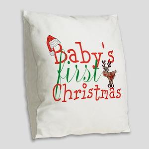 Baby's First Christmas Burlap Throw Pillow