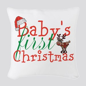 Baby's First Christmas Woven Throw Pillow