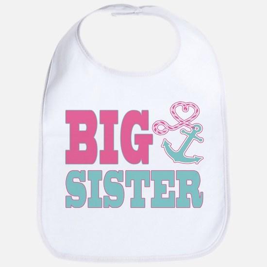 Big Sister Cute Nautical Anchor and Heart Bib