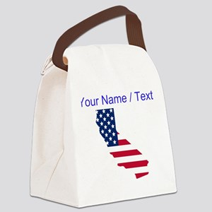 Custom California American Flag Canvas Lunch Bag