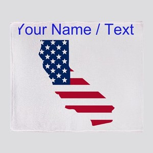 Custom California American Flag Throw Blanket