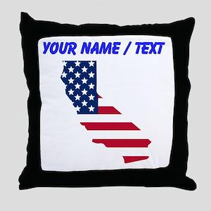 Custom California American Flag Throw Pillow