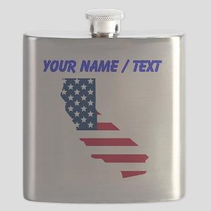 Custom California American Flag Flask