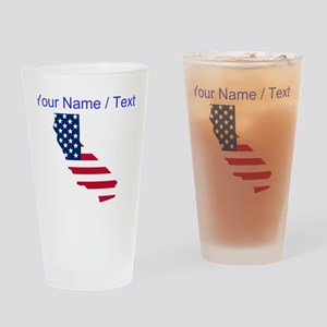 Custom California American Flag Drinking Glass
