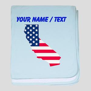Custom California American Flag baby blanket