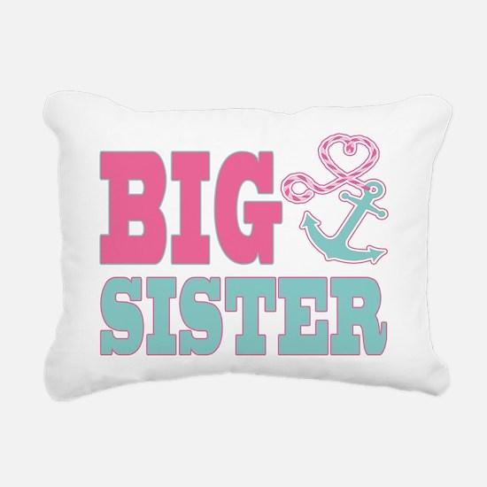 Big Sister Cute Nautical Anchor and Heart Rectangu