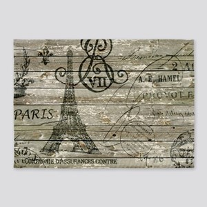 vintage paris eiffel tower scripts 5'x7'Area Rug