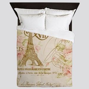 floral paris eiffel tower roses Queen Duvet