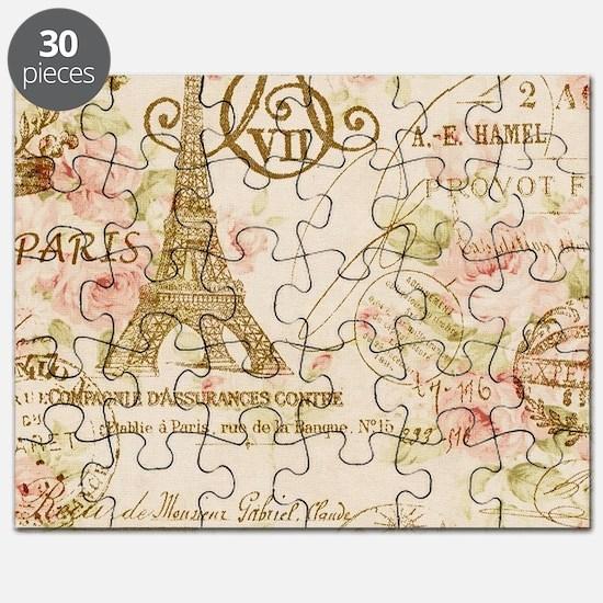 floral paris eiffel tower roses Puzzle