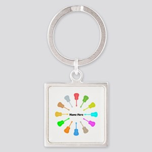 Guitars Personalized Square Keychain