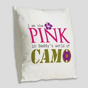Pink In Daddys Camo World! Burlap Throw Pillow