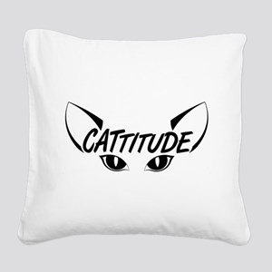 Cattitude Square Canvas Pillow