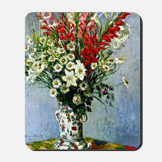 Monet - Bouquet of Gladiolas, Lilies and Mousepad