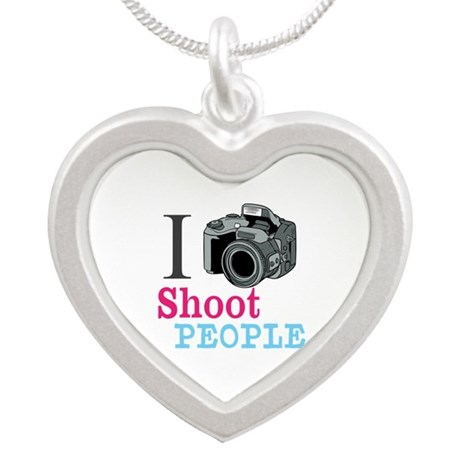 I Shoot People Silver Heart Necklace