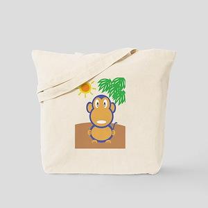 Monkey At The Beach Tote Bag