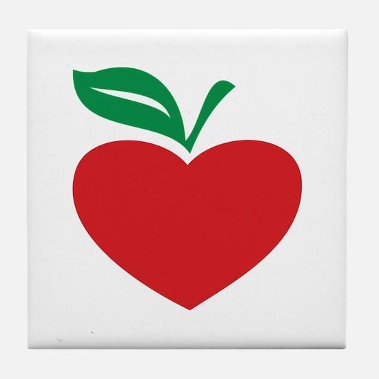 Apple heart Tile Coaster