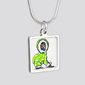 Italian Greyhound Snowsuit Silver Square Necklace