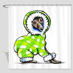 Italian Greyhound Snowsuit Shower Curtain