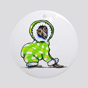 Italian Greyhound Snowsuit Ornament (Round)