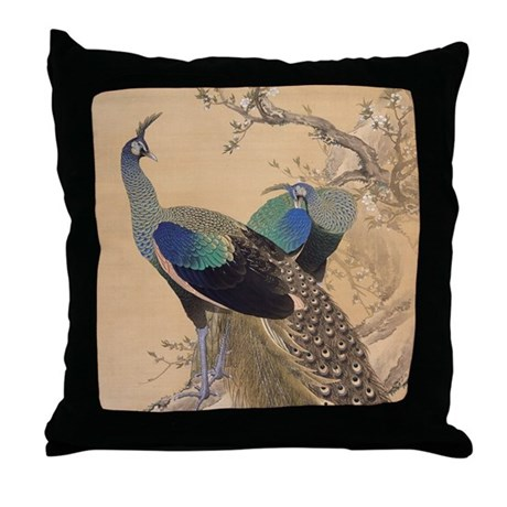 A Pair of Peacocks by Imao Keinen Throw Pillow