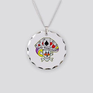 Dead Mans Hand Tattoo Necklace Circle Charm