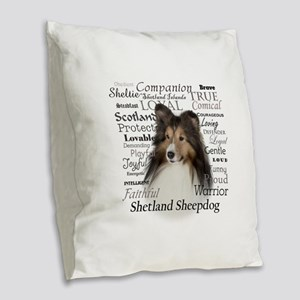 Sheltie Traits Burlap Throw Pillow