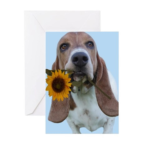 Basset Hound with Sunflower Greeting Cards