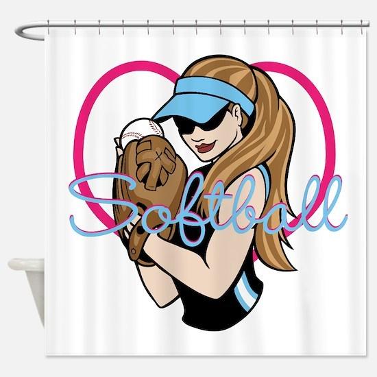 Cute Softball Girl Shower Curtain