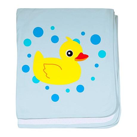 Cute Yellow Rubber Ducky on Water Heart baby blank