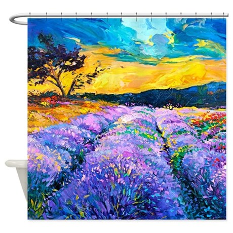 Lavender Fields Painting Shower Curtain