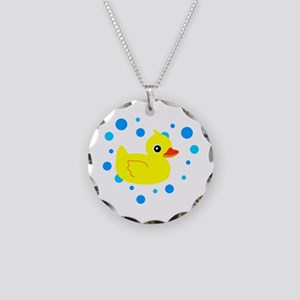 Cute Yellow Rubber Ducky on Water Heart Necklace