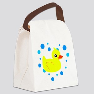 Cute Yellow Rubber Ducky on Water Heart Canvas Lun
