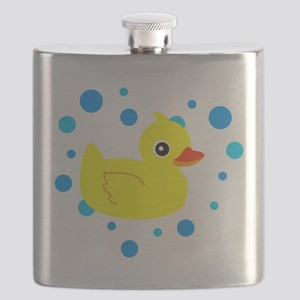 Cute Yellow Rubber Ducky on Water Heart Flask
