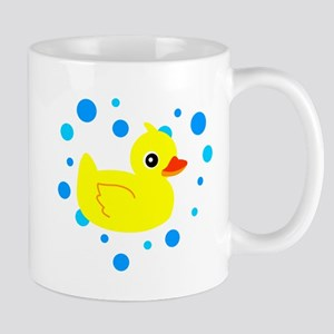 Cute Yellow Rubber Ducky on Water Heart Mugs