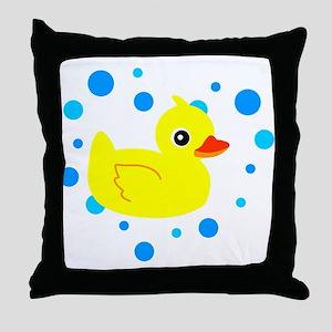 Cute Yellow Rubber Ducky on Water Heart Throw Pill