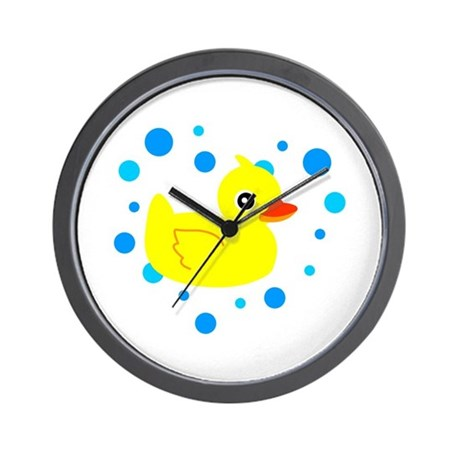 Cute Yellow Rubber Ducky on Water Heart Wall Clock