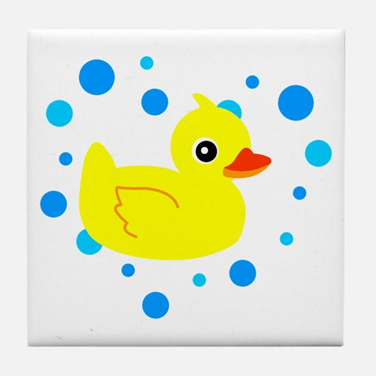 Cute Yellow Rubber Ducky on Water Heart Tile Coast