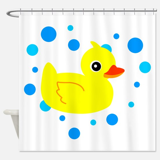 Cute Yellow Rubber Ducky on Water Heart Shower Cur