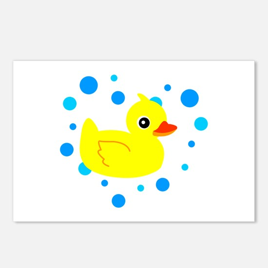 Cute Yellow Rubber Ducky on Water Heart Postcards