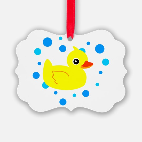 Cute Yellow Rubber Ducky on Water Heart Ornament
